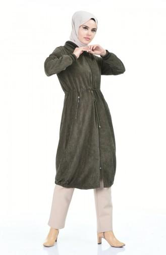 Samt Mantel mit Reissverschluss 5132-01 Khaki 5132-01