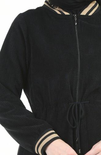 Samt Mantel mit Reissverschluss 5132-02 Schwarz 5132-02