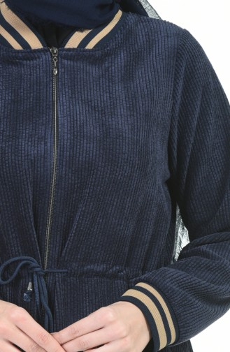 معطف طويل أزرق كحلي 5132-03