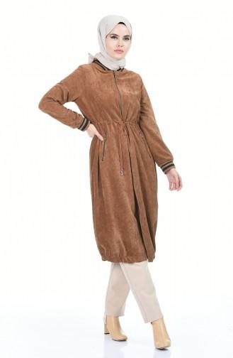 معطف طويل أخضر تبغ 5132-04