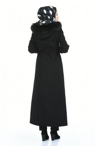 معطف طويل بقبعة أسود 4042-01