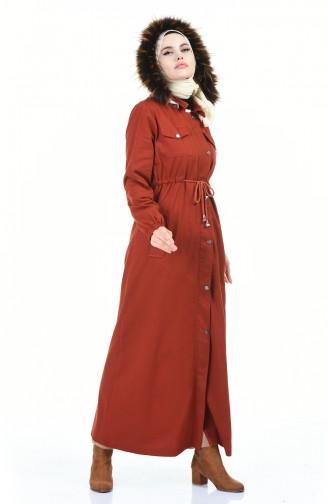Langer Mantel mit Kapuze 4042-03 Ziegelrot 4042-03