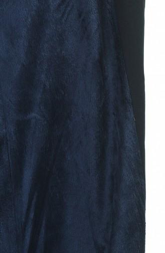 Kapüşonlu Uzun Kaban 4042-05 Lacivert