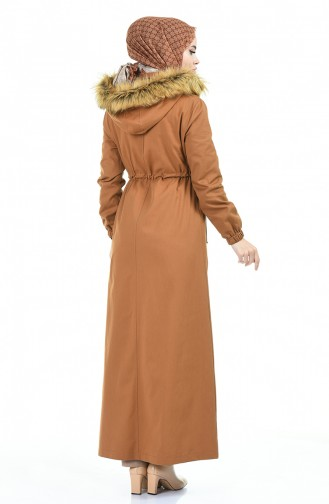 Kapüşonlu Uzun Kaban 4042-06 Camel 4042-06