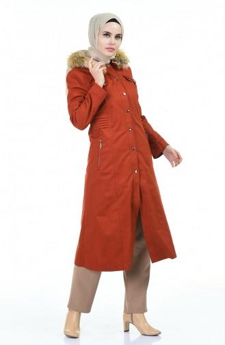 معطف طويل قرميدي 9018-06