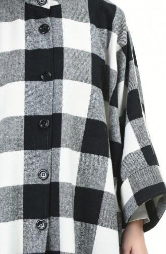Uzun Kışlık Panço 5007B-01 Gri Siyah