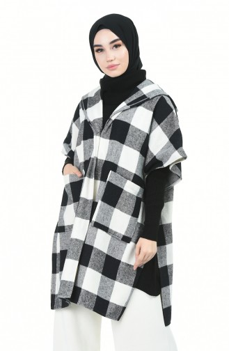 Kapüşonlu Kışlık Panço 5013-01 Gri Siyah