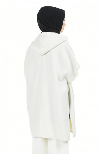 Kapüşonlu Kışlık Panço 5013D-01 Bej