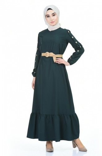 فستان أخضر زمردي 4527-01