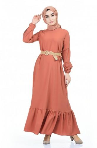 Kolu Düğmeli Fırfırlı Elbise 4527-05 Somon