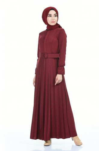Piliseli Kemerli Elbise 5056-01 Bordo