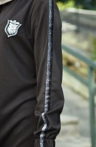 Sim Şeritli Ferace 10908-09 Koyu Kahverengi