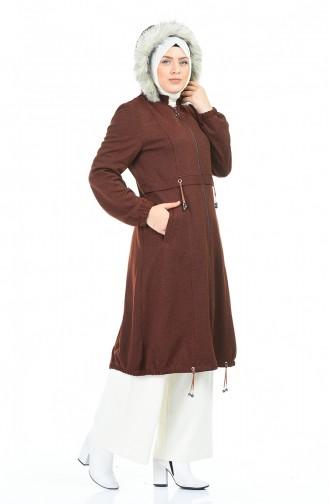 معطف طويل قرميدي 7111-01