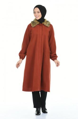 معطف طويل قرميدي 5026-01