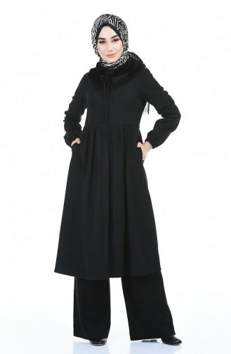 معطف طويل أسود 5038-01