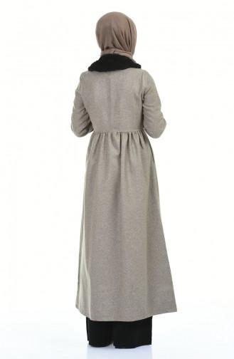 معطف طويل بيج داكن 5038-05