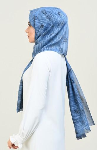Yaprak Desenli Şal 3006YD-06 Mavi