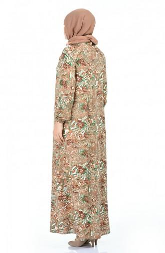 Büyük Beden Desenli Elbise 1453-01 Sütlü kahve Yeşil