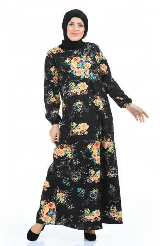 Büyük Beden Desenli Elbise 1453A-01 Siyah Sarı