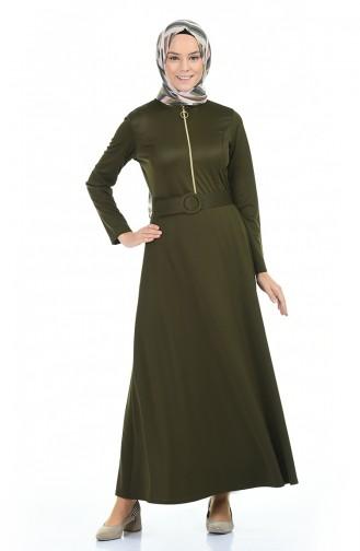 Fermuar Detaylı Kemerli Elbise 5059-02 Haki