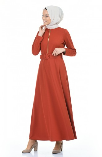 فستان قرميدي 5059-06