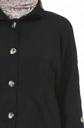 Fitilli Kadife Tunik 1028-05 Siyah