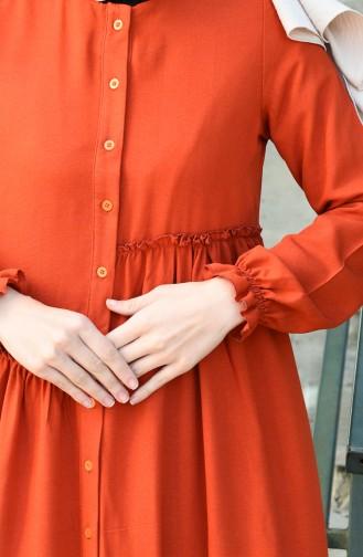 فستان قرميدي 8025-01
