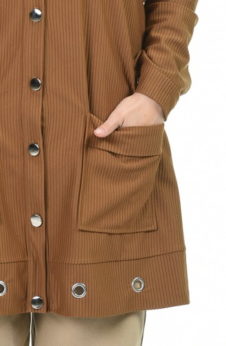 Fitilli Kadife Tunik 5947-05 Kahverengi
