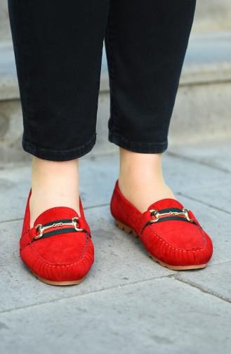 حذاء مسطح أحمر 2032-06