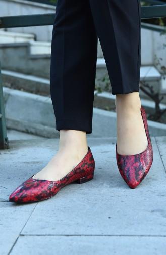 حذاء مسطح أحمر 381-02