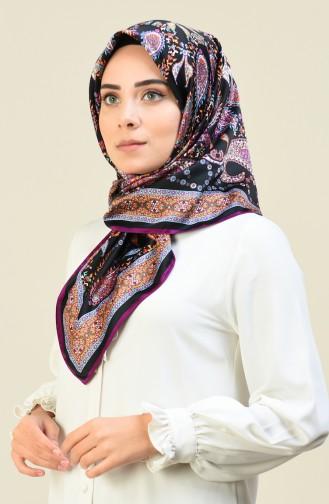 كاراجا وشاح حرير صناعي منقوش بنفسجي وأسود 90614-11