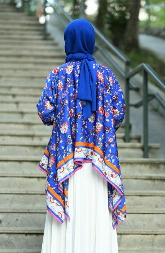 تونيك مزين بالأزهار أزرق غامق 8008-01
