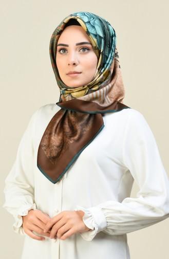 Karaca Desenli Rayon Eşarp 90615-06 Zümrüt Yeşili Kahverengi 90615-06