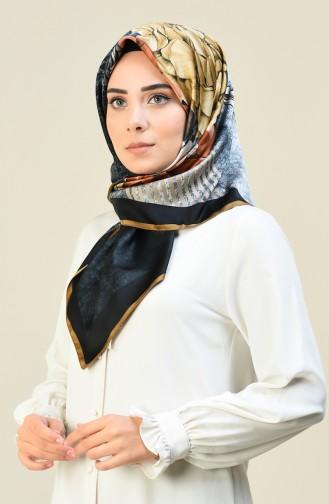 Karaca Desenli Rayon Eşarp 90615-08 Kahverengi Siyah 90615-08