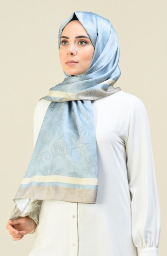 Patterned Cotton Shawl Ice Blue 95304-01