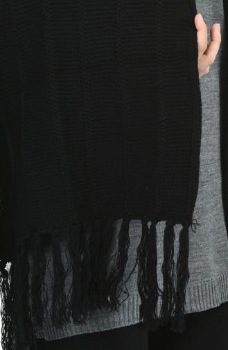 Triko Omuz Şalı 1008-01 Siyah