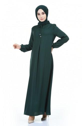 Kolu Lastikli Viskon Elbise 0552-10 Zümrüt Yeşil