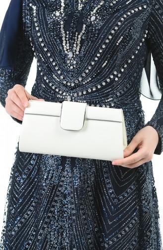 حقيبة سهرة نسائية جلد بلون الصدف 0494-01