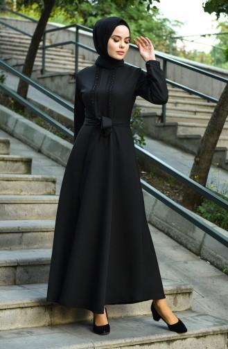 Front Detail Belted Dress Black 8029-01