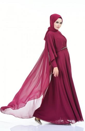 فساتين سهرة بتصميم اسلامي ارجواني داكن 9202-01