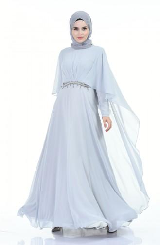 Taşlı Abiye Elbise 9202-03 Gri