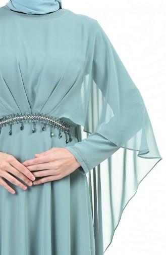 Taşlı Abiye Elbise 9202-04 Çağla Yeşili
