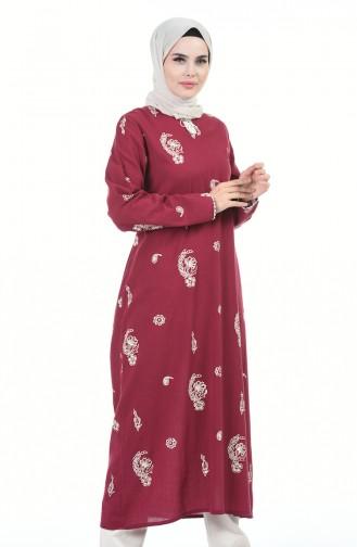 فستان أحمر كلاريت 0060-04