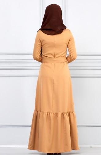 فستان عسلي 5042-07