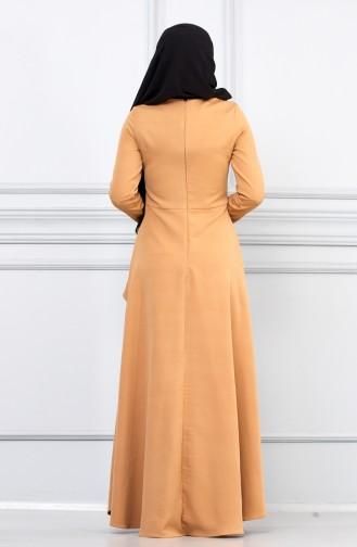 فستان عسلي 5041-02