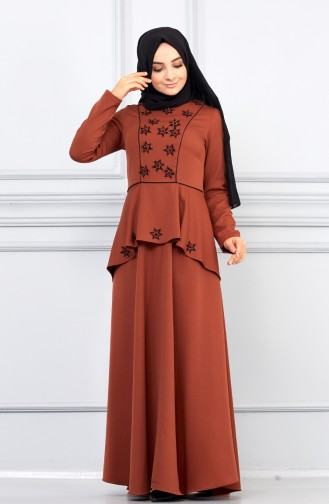 Robe Hijab Couleur cannelle 5041-06