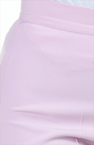 Düğmeli Düz Paça Pantolon 1102-25 Toz Pembe