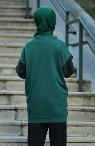 Sweatshirt Détail Manches Organza 8088-04  Vert émeraude 8088-04