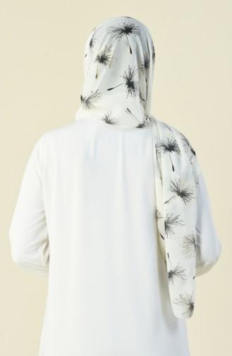 Patterned Chiffon Shawl Ecru 15031-01