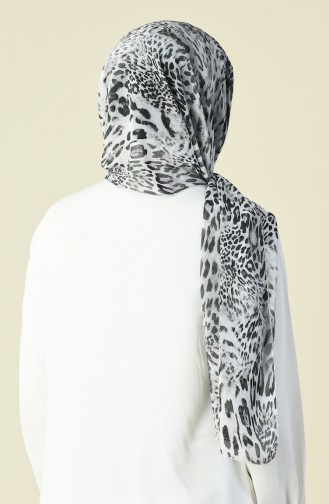 Desenli Şifon Şal 15033-01 Siyah Beyaz 15033-01